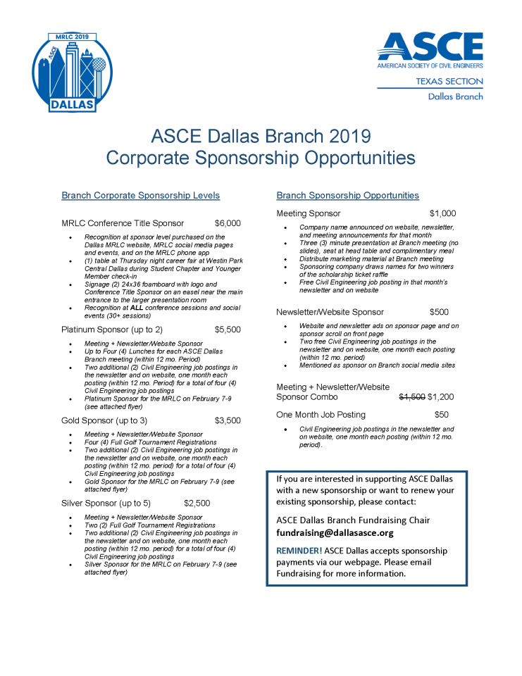 ASCE Dallas Branch 2019 Corporate Scholarship Opportunities